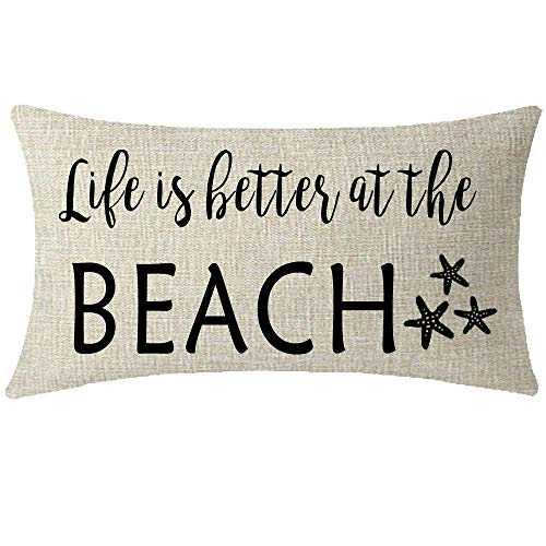 Mesllings Nice Sister Brother Gift Sea Starfish Life is Better at The Beach Lumbar Waist Cotton Burlap Linen Throw Pillow Case Cover Sofa Decorative Rectangle 12x20 inches (B)