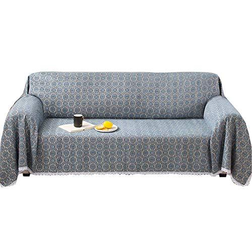 ZHFEL Funda de Sofá Impreso,Universal Cubre Sofa para 3 Plazas Suave Antideslizante Protector para Muebles Lavable AntiArañazos Funda para sofá para Sala Dormitorio-180x360cm(70'x142')-Azul