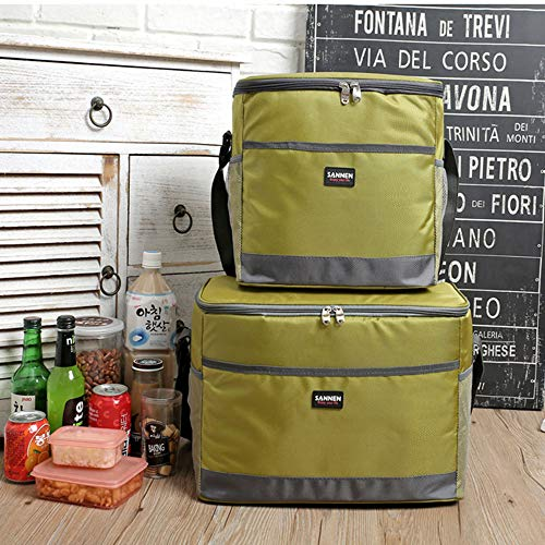 VISTANIA 2-Pack Adult Insulated Lunch Bag Medium Cool Bag For Men And Women, Leakproof Liner,Green