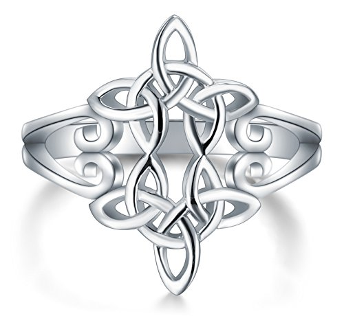 BORUO 925 Sterling Silver Ring Celtic Knot Heart Cross High Polish Tarnish Resistant Eternity Wedding Band Stackable Ring Size 4