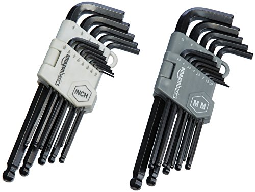 Amazon Basics Hex Key Allen Wrench Set with Ball End - Set of 26