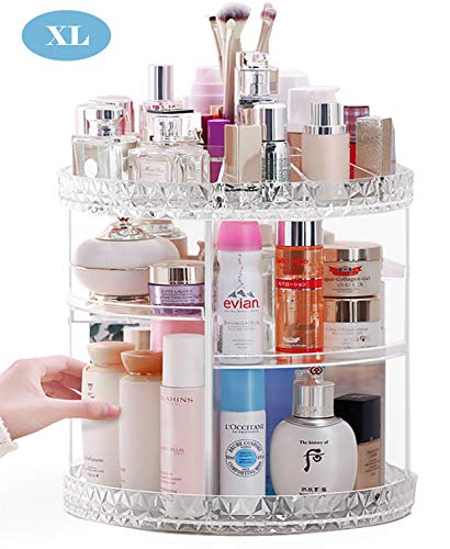 Rotating Makeup Organizer,360-Degree Cosmetic Organizer,Large Capacity Crystal Display Stand Box, Adjustable Multi-Function Bathroom Counter Organizers Storage For Makeup Brushes, Lipsticks (Extra L)