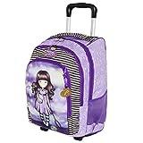 Mochila escolar con ruedas compatible con Santoro Gorjuss London Estrellas cadentes Catch A Falling Stars + Llavero Girabrilla de regalo + Bolígrafo de purpurina