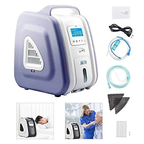 InLoveArts Concentrador de oxígeno portátil 1-5 L/min Concentrador de oxígeno ajustable Generador 90% ± 3% Concentrador de oxígeno de alta pureza, para uso doméstico y de viaje (Morado)