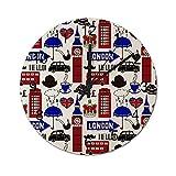 Reloj de Pared Digital Redondo,Collage de los símbolos de Londres El Re,Decoración casera rústica silenciosa Que no Hace tictac con Pilas de Madera para la Sala de Estar de 10 Pulgadas