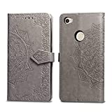 Bear Village Hülle für Xiaomi Redmi Note 5A, PU Lederhülle Handyhülle für Xiaomi Redmi Note 5A, Brieftasche Kratzfestes Magnet Handytasche mit Kartenfach, Grau