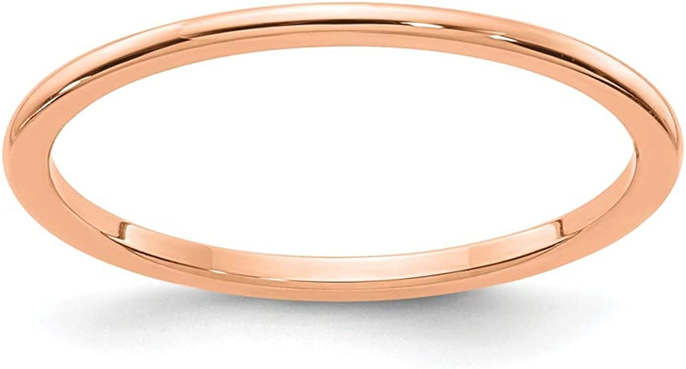 Solid 10K Rose Gold 1.2mm Classic Dome Stackable Band Thin Wedding Anniversary Ring