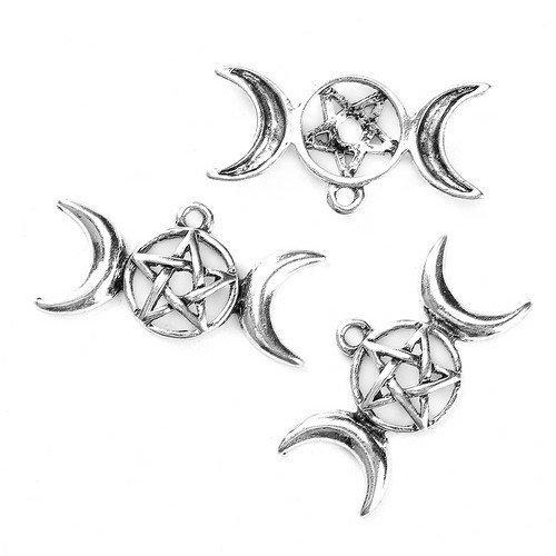 Zinc Alloy Pagan Pentagram Charm Pendants Antique Silver 15x29mm Pack of 5