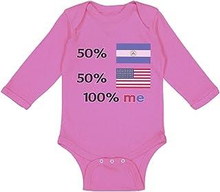 Cute Rascals Baby Long Sleeve Bodysuit 50% Nicaraguan + USA = 100% Me Boy & Girl Clothes