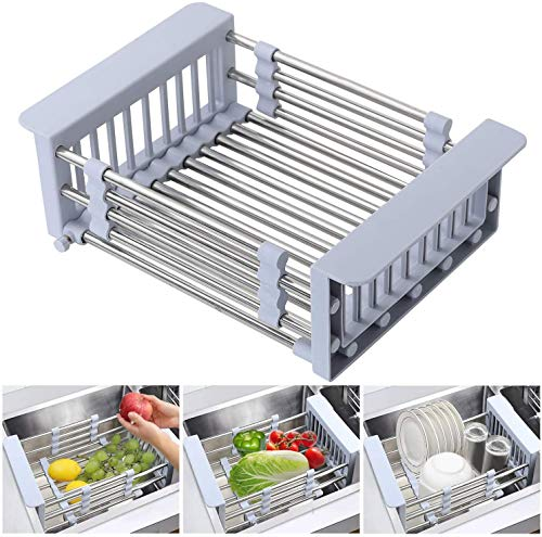 Expandable Dish Drying Rack Over Sink Stainless Steel Dish Basket Drainer with Adjustable Arms Functional Kitchen Sink Organizer for Vegetable, Fruit and Tableware - Gray