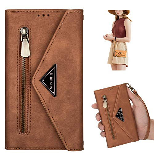 JAWSEU Phone Case Compatible with Xiaomi Redmi Note Note 9 Pro/Note 9S, PU Leather Wallet Magnetic Closure Cover with Card Holders Adjustable Lanyard Strap Folio Stand Flip Shockproof Case,Brown