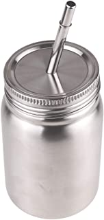 Freebily Unbreakable Stainless Steel Single/Double Walled Dishwasher Safe Mason Jar with Lids and Straws Silver Double Wall 500ml