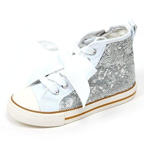 C6942 Sneaker Bimba Twin-Set Simona BARBIERI Bianco/Argento Paillettes Shoe Kid [22]