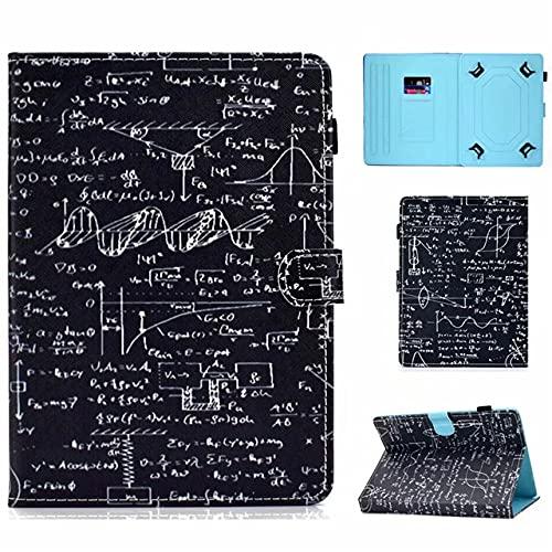 Funda universal para tablet de 10 pulgadas, con soporte universal para Tab de 10', fórmula científica matemática, color negro y blanco