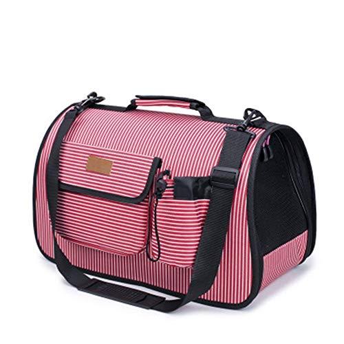 WanuigH kattenhondentrekker rugzak roze gestreepte draagbare puppy huisdier schoudertas outgoing draagtas geschikt voor kleine en middelgrote katten en honden ademende carriers, Large, rood