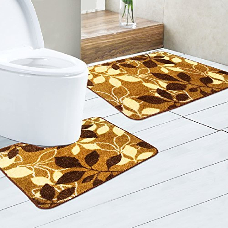 Antiskid Foot pad Combined Floor mat, Bathroom Antiskid Foot pad, Modern Simple Water Absorption Anti-Skid pad,Brown Circle