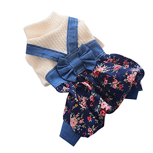 Adarl Cute Pet Dog Cotton Jumpsuit Bowknot Denim Bloomers Rompers Costumes for Puppy Dog Cat Red/M