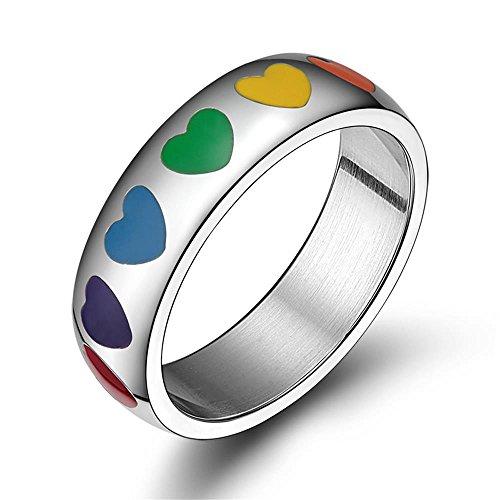 PJ Jewelry LGBT - Anillo de Boda con Corazón esmaltado de Acero Inoxidable, 6 mm