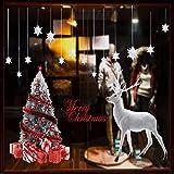 VDFG Gran árbol de Navidad Reutilizable+Pegatina de Ventana de Reno,Material de PVC,Christmas and Other Holiday Door and Window Stickers, Window Decorations in Shops, Hotels, Homes and Other Shops