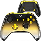 HexGaming Esports Blade Controller 2 Remap Buttons & Interchangeable Thumbsticks & Triggers Stop for Xbox Customized Controller, Xbox Series X/S, PC Wireless FPS Gamepad - Chrome Black Gold Silver