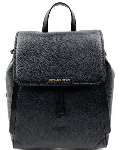 Michael Kors Ginger Medium Pebbled Leather Drawstring Backpack (Black)