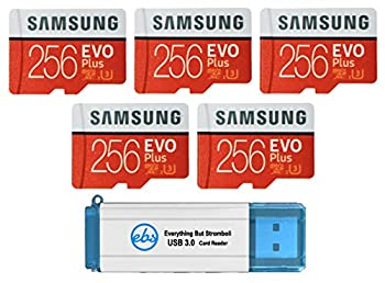 Samsung 256GB Evo Plus MicroSD Card  Bulk 5 Pack  Class 10 SDXC Memory Card with Adapter  MB-MC256G  Bundle with  1  Everything But Stromboli 3.0 Reader with SD & Micro  TF  Slots