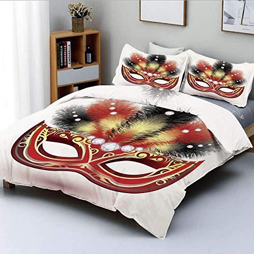 Conjunto de funda nórdica, máscara de fiesta con plumas decorativas y figuras de diamantes Ilustración PrintDecorative Juego de cama de 3 piezas con 2 fundas de almohada, negro rojo amarillo, el mejor