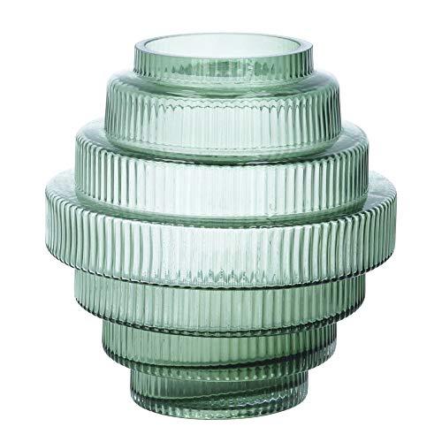 Nordal Vase Rill H 24 cm Rillenmuster Grün Handarbeit Glas