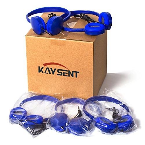 Wholesale Bulk Earphone Earbud Headphones - Kaysent(KHP-05DBlue) 5 Pack Wholesale Headphones for School,Airplane,Hospital,Students,Kids and Adults