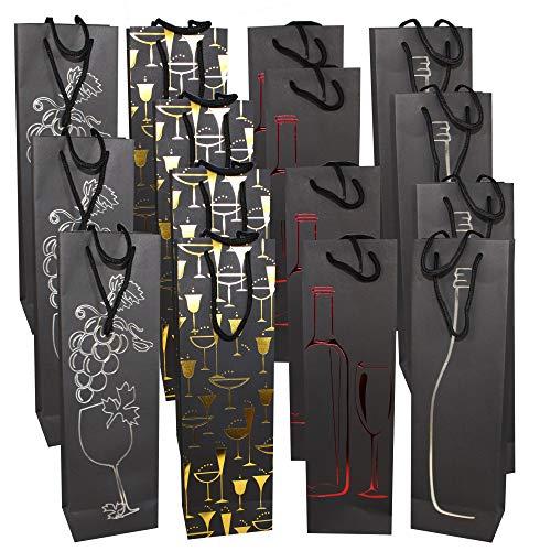 Paquete de 15 Bolsas de Regalo de Vino Premium - Elegante y Con Estilo Bolsas Botella Vino - Papel Resistente de Alta Calidad con Manijas de Cuerda Fuerte| Caja Regalo de Navidad.
