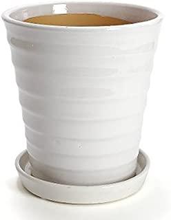 鉢 三河焼 KANEYOSHI 【日本製/安心の国産品質】 陶器 植木鉢 三河焼 フラワーロード ホワイト 7号皿付