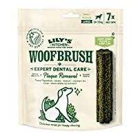A daily dog dental stick that will reduce tartar build up, cleans teeth and freshens your dog's breath Dog dental chew (1 pack of 7 chews) designed specifically for large dogs Made with natural ingredients: 2.2 Percent algae, 0.3 Percent fennel and 0...