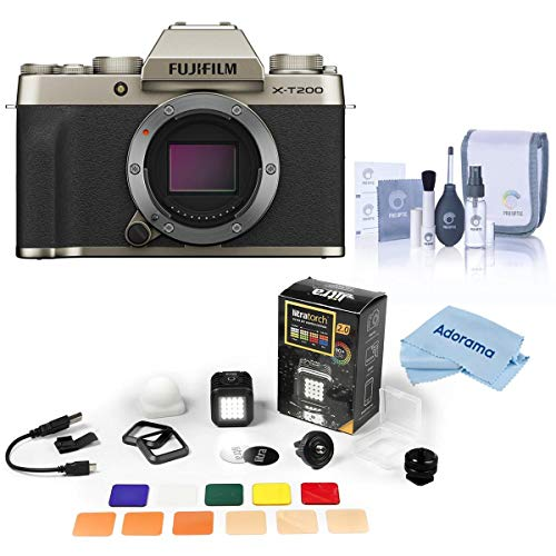 Fujifilm X-T200 Mirrorless Digital Camera Body - Champagne Gold - with Litra LitraTorch 2.0 Filter Set Limited Edition, Adorama Exclusive Kit