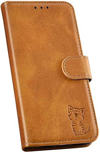 Ysimee Handyhülle kompatibel mit Huawei P30 Pro Leder, Einfarbig Gelb Schutzhülle Brieftasche mit Kartenfach e Katze Muster, Klappbar Stoßfest Kratzfest Hülle Flip Handy Tasche Schale