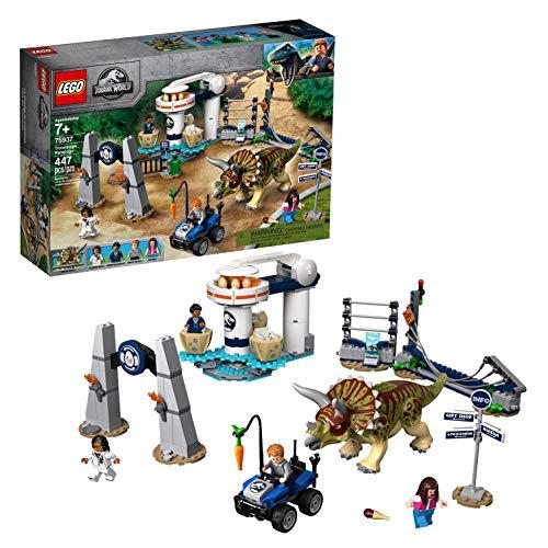 LEGO 75937 Jurassic World Triceratops-Randale Dinosaurier-Spielzeug mit 4 Minifiguren, Buggy und...