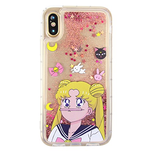 competitive price 9de4b 48f4f Pink Sailor Moon Glitter Flowing Liquid Crystal Case for Apple iPhone X  iPhoneX Luna Cat Pencil Glittery Water Floating Sparkling Soft Transparent  ...