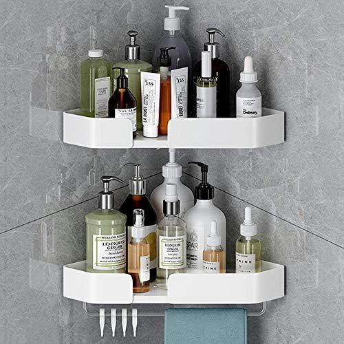 balda baño esquina estante de ducha adhesivo cestas baño de aluminio Ajuste de altura sin taladrar Gran capacidad de carga Se utiliza en baños Cocina-Blanco A_2 Niveles