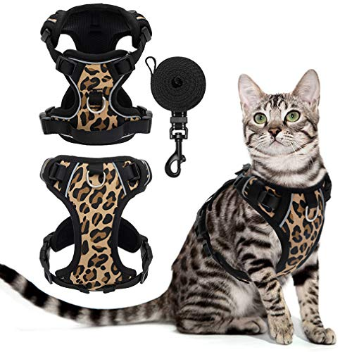 SCENEREAL Escape Proof Cat Harness and Leash Set - Adjustable Harness Soft Mesh Vest for Cats, Reflective Strap for Night Safe Kittens Puppy Cats