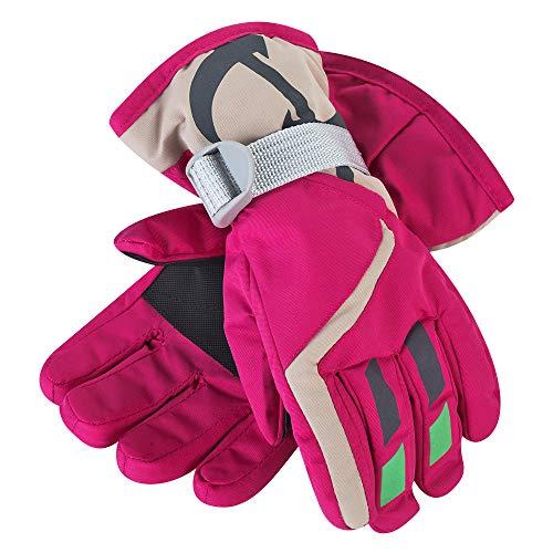 Rehomy Guantes de esquí y Nieve para Invierno para niños Guantes Gruesos de Forro Polar Suave y Resistente al Agua para Invierno para niños y niñas de 3-6 años (Rojo) (Rosa roja)