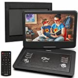 Portable DVD Player 16.9' with 14.1' Large HD Screen, 5000mAH Rechargeable Battery, car DVD Player, Support USB/SD Card/Sync TV and Multiple Disc Formats, High Volume Speaker,Black