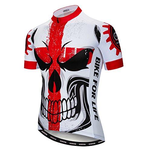 Weimostar Radfahren Jersey Männer Mountainbike Trikot Full Zip Fahrrad Shirt Laufende Top Road MTB Kleidung Schädel rot Größe XXXL