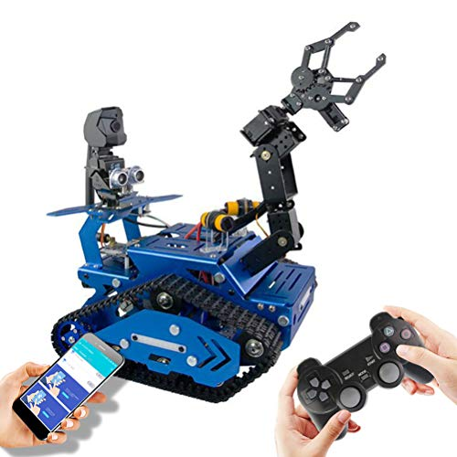 DIY Raspberry Pi Robot Kitfor, STEM Educational Robot Kit with Face & Color Recognition, educational robot kit with 4-DOF Robotic Arm, both learning programming and having fun