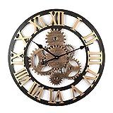 MAJOZ 58cm Reloj de Pared Vintage Reloj de Pared Silencioso Cocina Decorativo Antiguo Hecho a Mano de Madera Vintage 3D Diseño de Gear (Dorado -6 Engranajes)