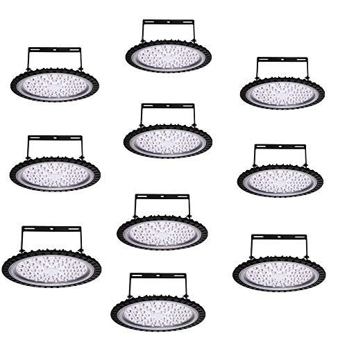 10pcs UFO LED Iluminación, 100W 200W LED UFO Lámpara Industrial, Blanco Frío 6000K Redondo Lampara Minera Brillante Iluminación Comercial Bahía Luces Almacén LED Lámpara (100W-Typ 2)