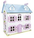 Leomark Dream House Casa de Muñecas de Madera con muñecas - Color Rosa - Villa (60 cm - altura), Equipo Completo, Excelente Calidad, Accesorios adicionales
