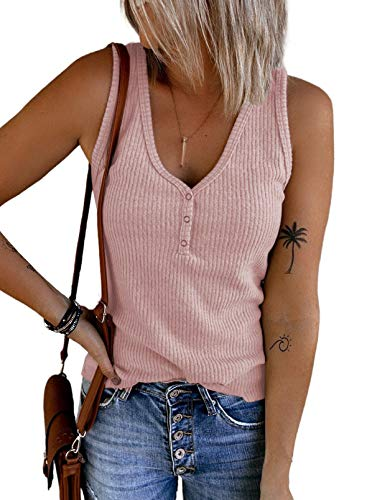 Dokotoo Tank Top Damen Sommer Ärmellose Oberteile Shirts Basic Rosa Loose Tee Tops mit Knöpfen Medium