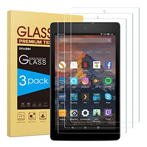 [3 PACK] Fire HD 10 Screen Protector, SPARIN Tempered Glass Screen Protector for All-New Fire HD 10 and Fire HD 10 Kids Edition (9th and 7th Generation, 2019 and 2017 Release)