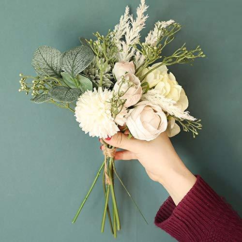 ZHEMAIDZ Ramo de flores artificiales con hojas de eucalipto, flores artificiales de seda para decoración de boda, decoración de novia falsa (color: blanco)