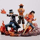 Decoración hogareña 3 unids Anime One Piece Figurine Monkey D Luffy Ace Sabo Three Brothers Set PVC ...