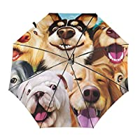 傘 動物 犬柄 折りたたみ傘 日傘 ワンタッチ 自動開閉 紫外線遮蔽 超撥水 晴雨兼用 メーズ レディース 携帯しやすい 収納ポーチ付き